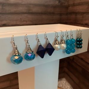 Five pairs of very cute blue earrings